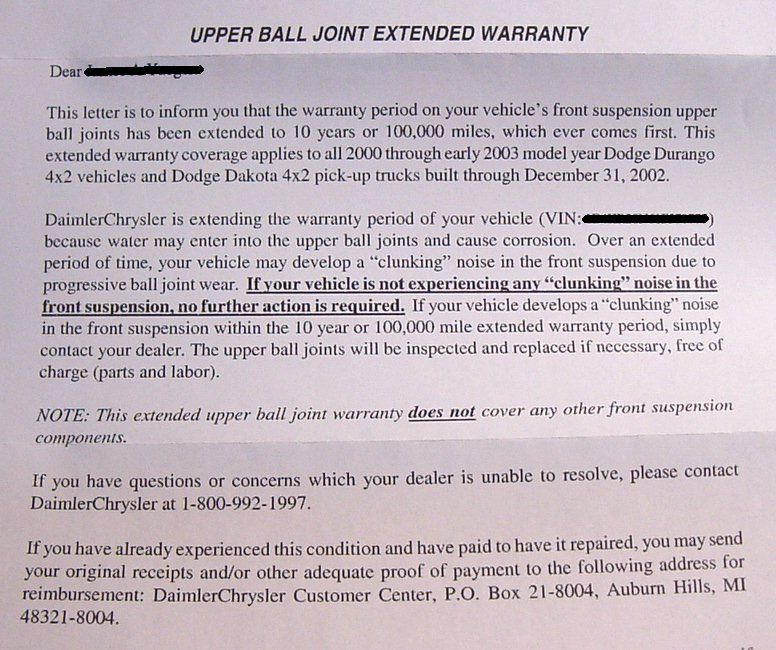 Extended Warranty Letter Extended Warranty-letter